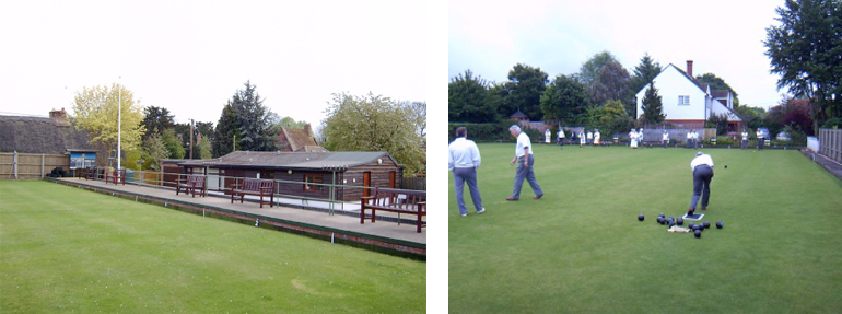 Image of people bowling and the clubhouse