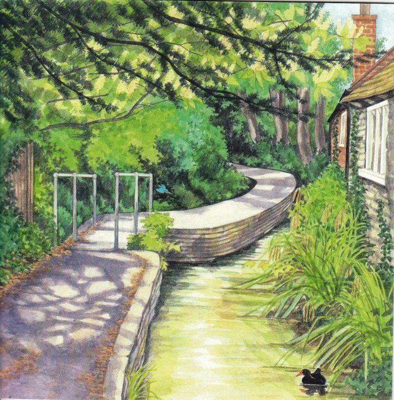 Image of the causeway path and stream painted by Linda Benton