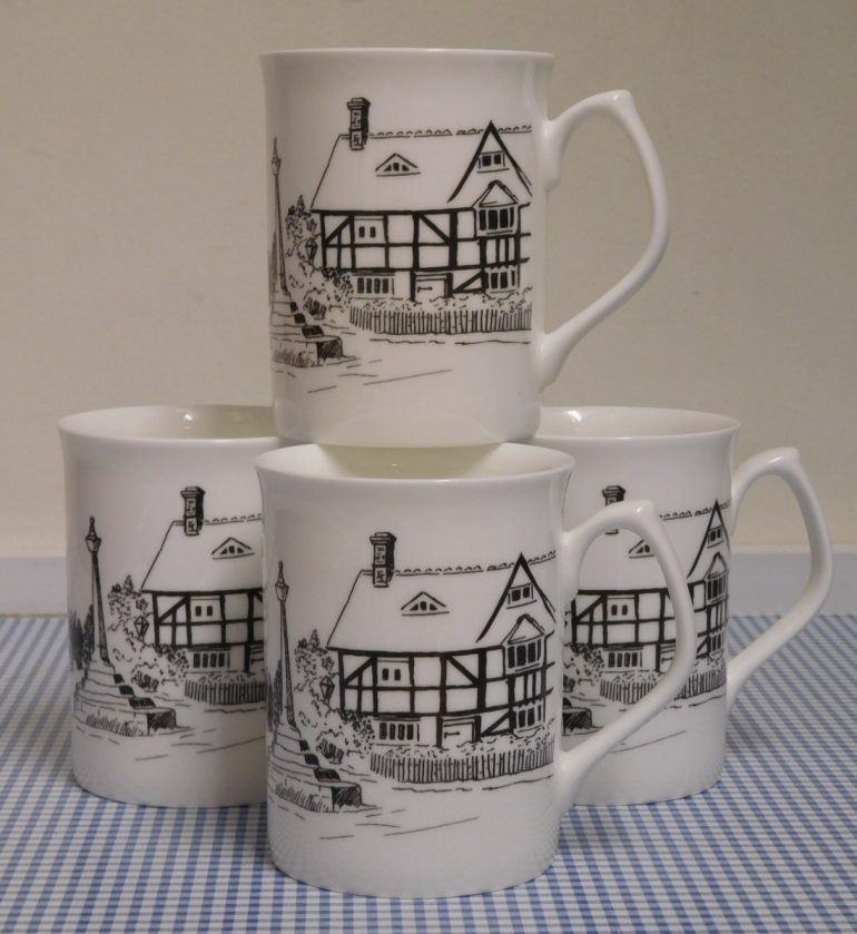 Image of mugs sold at the shop