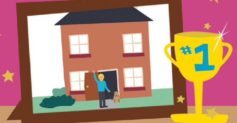 Image of a house, man and dog by a 1st prize cup