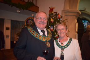 Image Mayor of Didcot, Councillor Bill Service and his wife Angela in front of a Christmas tree