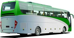 Image of a green and white bus