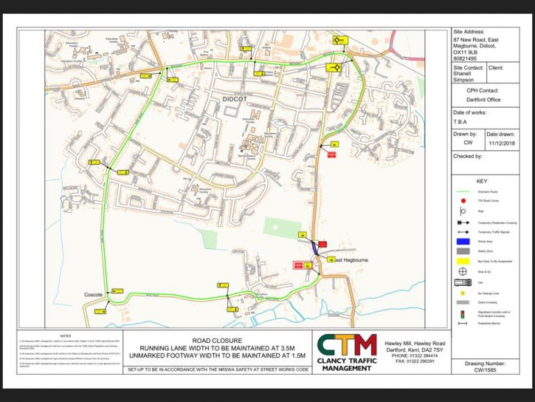 Map of road closure and alternative routes