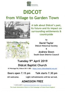 Talks - DIDCOT from Village to Garden Town – A talk about Didcot's past, its future and its impact on surrounding settlements & countryside.