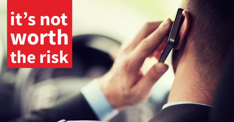 OCC poster of man on mobile phone when driving