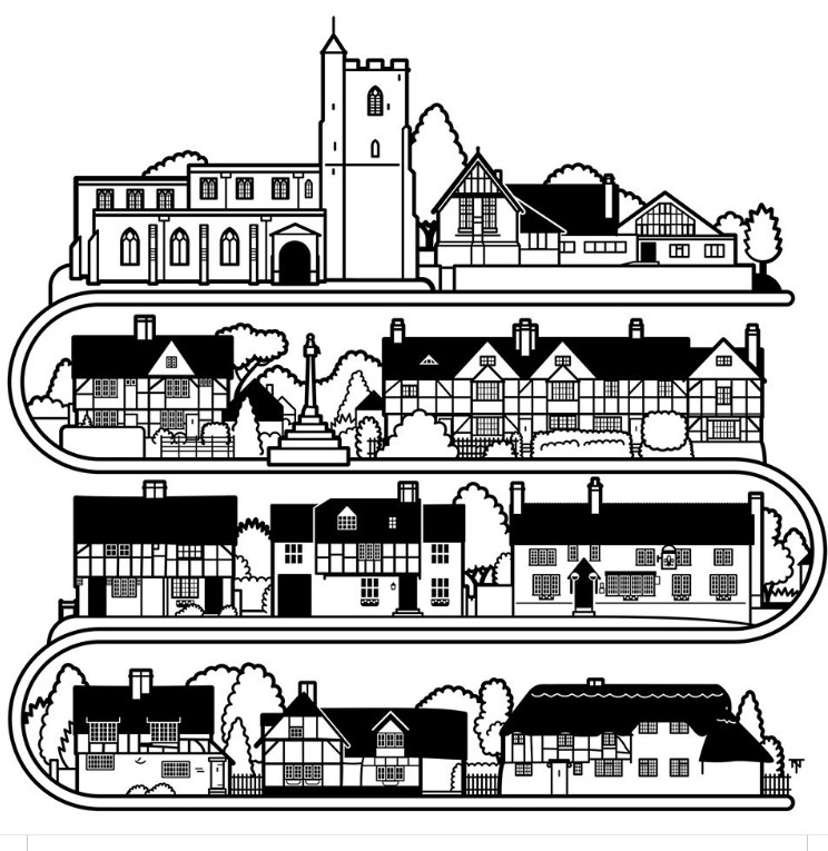 Graphic design of houses in the village by Napper