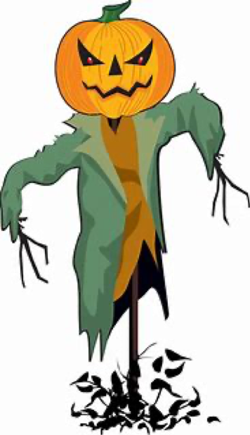 cartoon image of pumpkin scarecrow