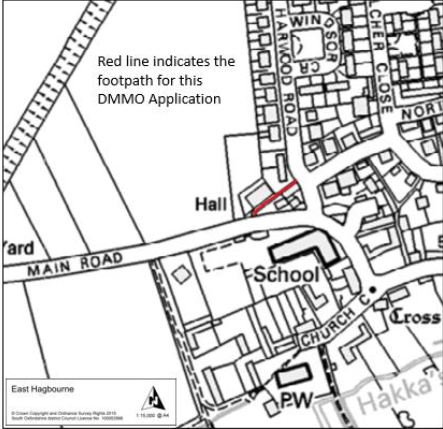 Map of footpath by village hall