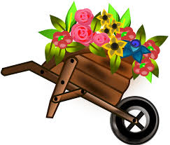 Cartoon of wheelbarrow and flowers